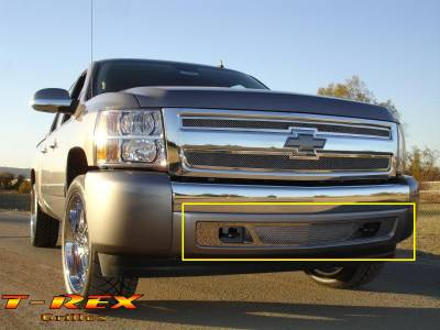 T-Rex - Chevrolet Silverado T-Rex Upper Class Polished Stainless Bumper Mesh Grille - Lower Air Dam Only - 55110