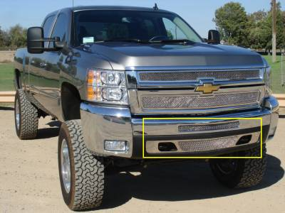 T-Rex - Chevrolet Silverado T-Rex Upper Class Polished Stainless Bumper Mesh Grille - 2PC - 55112