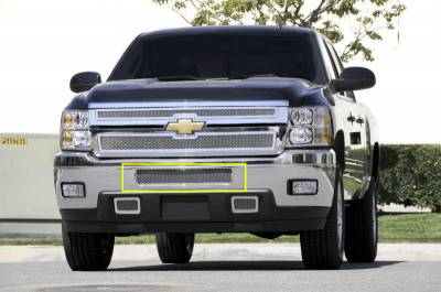 T-Rex - Chevrolet Silverado T-Rex Upper Class Polished Stainless Mesh Bumper Grille - Top Steel Bumper Opening - 55114