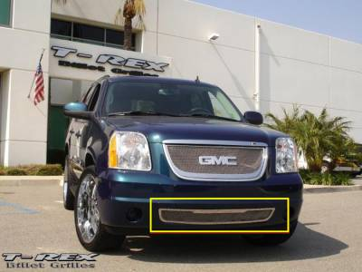 T-Rex - GMC Yukon T-Rex Upper Class Polished Stainless Bumper Mesh Grille with Tow Hooks Removed - 55172