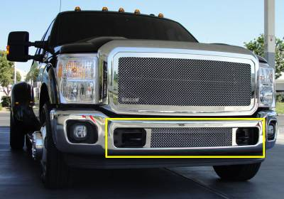 T-Rex - Ford Superduty T-Rex Upper Class Polished Stainless Bumper Mesh Grille - Between Tow Hooks - 55546