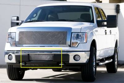T-Rex - Ford F150 T-Rex Upper Class Polished Stainless Bumper Mesh Grille with Formed Mesh Center - 55569