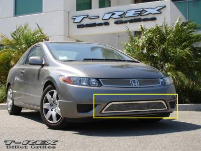 T-Rex - Honda Civic 2DR T-Rex Upper Class Polished Stainless Bumper Mesh Grille - 55736