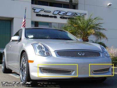 T-Rex - Infiniti G35 2DR T-Rex Upper Class Polished Stainless Bumper Mesh Grille - 2PC - 55794