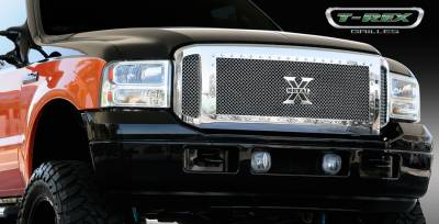 T-Rex - Ford Superduty T-Rex X-Metal Series Grille Assembly - Chrome Shell with Polished Stainles Steel X-Metal Grille Installed - 6705610