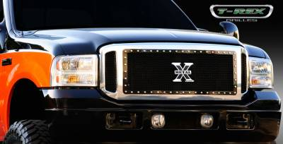 T-Rex - Ford Superduty T-Rex X-Metal Series Grille Assembly - Chrome Shell with All Black X-Metal Grille Installed - 6705611
