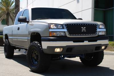 T-Rex - Chevrolet Silverado T-Rex X-Metal Series Studded Main Grille - All Black - Custom 1PC Grille - 6711011