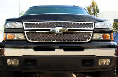 T-Rex - Chevrolet Silverado T-Rex X-Metal Series Studded Main Grille - All Black - 2PC Style - 6711061
