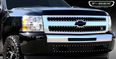 T-Rex - Chevrolet Silverado T-Rex X-Metal Series Studded Main Grille - All Black - 2PC Style - 6711101