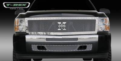 T-Rex - Chevrolet Silverado T-Rex X-Metal Series Studded Main Grille - Polished Stainless Steel - Custom - 1PC - 6711110