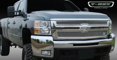T-Rex - Chevrolet Silverado T-Rex X-Metal Series Studded Main Grille - Polished Stainless Steel - 2PC Style - 6711120