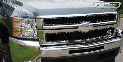 T-Rex - Chevrolet Silverado T-Rex X-Metal Series Studded Main Grille - All Black - 2PC Style - 6711121