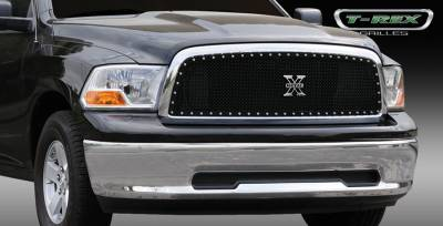 T-Rex - Dodge Ram T-Rex X-Metal Series Studded Main Grille - Custom 1PC Opening - All Black - 6714571