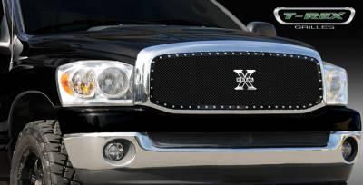 T-Rex - Dodge Ram T-Rex X-Metal Series Studded Main Grille - Custom Full Opening - All Black - 1PC - 6714591