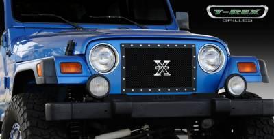 T-Rex - Jeep Wrangler T-Rex X-Metal Series Studded Main Grille - All Black - 1PC Custom - 6714901