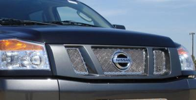 T-Rex - Nissan Titan T-Rex X-Metal Series Studded Main Grille - Polished Stainless Steel with Logo Opening - 3PC - 6717810
