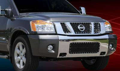 T-Rex - Nissan Titan T-Rex X-Metal Series Studded Main Grille - All Black with Logo Opening - 3PC - 6717811