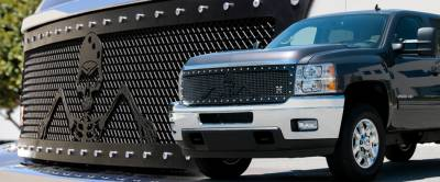 T-Rex - Chevrolet Silverado T-Rex Urban Assault Grunt Studded Main Grille with Soldier - Black OPS Flat Black - Custom 1PC Style - 7111136