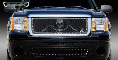T-Rex - GMC Sierra T-Rex Urban Assault Grunt Studded Main Grille with Soldier - Black OPS Flat Black - 7112056