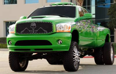 T-Rex - Dodge Ram T-Rex Urban Assault Grunt Studded Main Grille with Soldier - Black OPS Flat Black - Custom 1PC Opening - 7114596