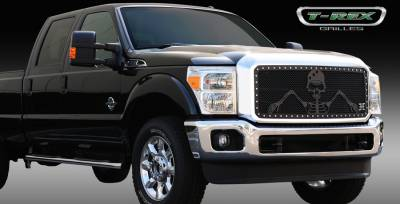 T-Rex - Ford Superduty T-Rex Urban Assault Grunt Studded Main Grille with Soldier - Black OPS Flat Black - 1PC - 7115466
