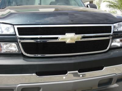 T-Rex - Chevrolet Silverado T-Rex Billet Grille Overlay - Bolt On & Insert - All Black - 2PC - 21106B