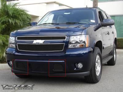 T-Rex - Chevrolet Tahoe T-Rex Bumper Billet Grille - Remove Tow Hooks - 11 Bars - All Black - 2PC - 25051B
