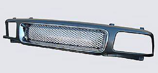 Street Scene - GMC Sonoma Street Scene Grille Shell with Black Chrome Grille - Sealed Beam Style - 950-76517