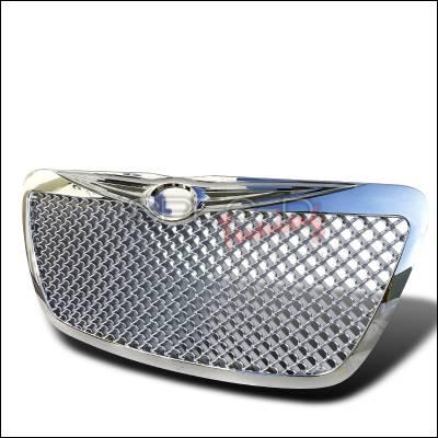 Spec-D - Chrysler 300 Spec-D Mesh Grille - Chrome with Wing Logo - HG-300C11C