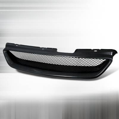 Spec-D - Honda Accord 2DR Spec-D Type R Style Front Hood Grille - Carbon Look - HG-ACD98CFTR