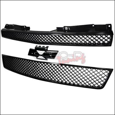 Spec-D - Chevrolet Tahoe Spec-D Mesh Front Grille Upper & Lower - Black - 2PC - HG-AVA07JM2P-GL