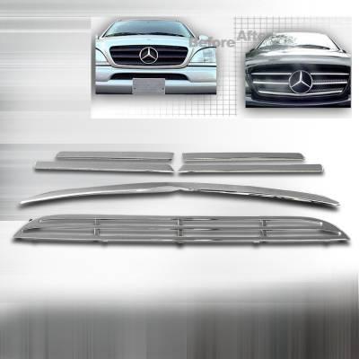 Spec-D - Mercedes-Benz ML Spec-D Front Grille Insert - Chrome - HG-BW16398C