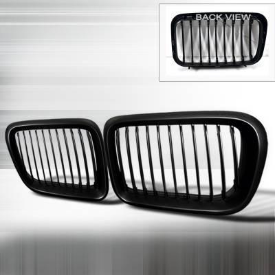 Spec-D - BMW 3 Series Spec-D Front Hood Grille - Black - HG-E3697BB