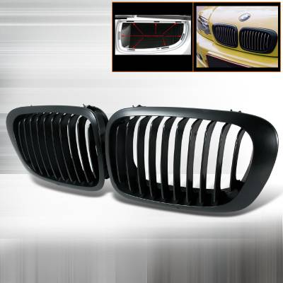 Spec-D - BMW 3 Series 2DR Spec-D Front Hood Grille - Black - HG-E46992BB