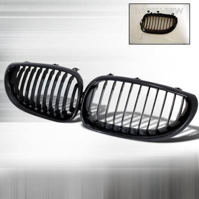 Spec-D - BMW 5 Series Spec-D Front Hood Grille - Black - HG-E6004BB
