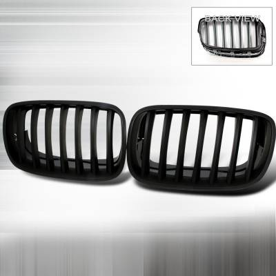 Spec-D - BMW X5 Spec-D Front Hood Grille - Black - HG-E7007BB