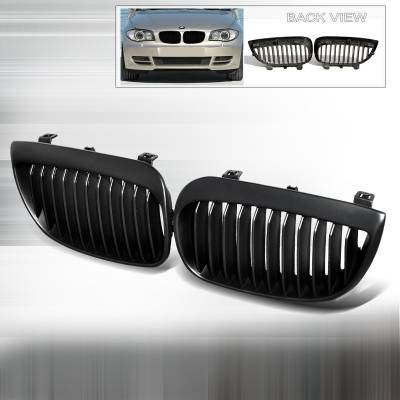 Spec-D - BMW 1 Series Spec-D Front Hood Grille - Black - HG-E8708BB
