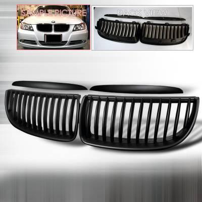 Spec-D - BMW 3 Series Spec-D Front Hood Grille - Black - HG-E9005BB