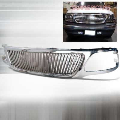 Spec-D - Ford F150 Spec-D Vertical Grille - Chrome - HG-F15099CVT