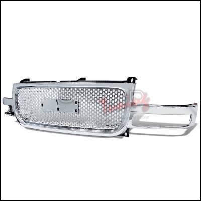 Spec-D - GMC Yukon Spec-D Front Upper Grilles Mesh - Chrome - HG-GMC99CO