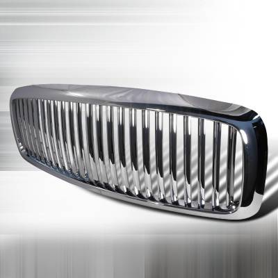 Spec-D - Dodge Ram Spec-D Vertical Grille - Chrome - HG-RAM02CVT