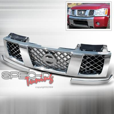 Spec-D - Nissan Titan Spec-D Chrome Grille - HG-TIT04C-TY