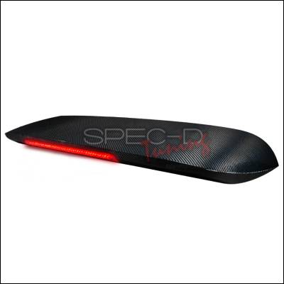 Spec-D - Honda Civic HB Spec-D Carbon Fiber Spoon Spoiler with Smoke LED Brake Light - SPL-CV963CFGLED