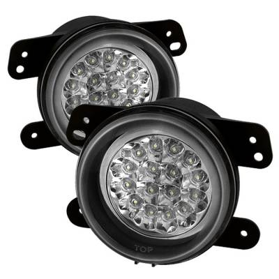 Spyder - Jeep Wrangler Spyder LED Fog Lights - Clear - FL-LED-DM05-C