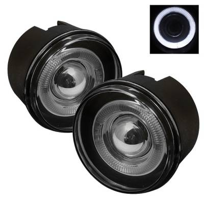 Spyder - Mitsubishi Raider Spyder Halo Projector Fog Lights with Switch - Smoke - FL-P-JGC05-HL-SM