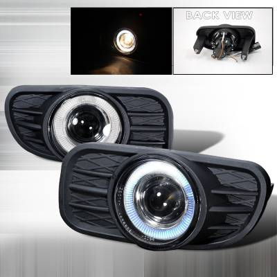 Spec-D - Jeep Grand Cherokee Spec-D Halo Projector Fog Lights - Clear - LFP-GKEE99H-YL
