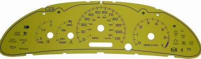 US Speedo - US Speedo Exotic Color Yellow Gauge Face - Displays Tachometer - 110 MPH - 7000 RPM - CAV 03 01