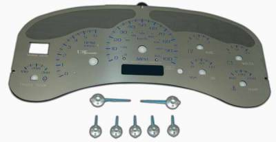 US Speedo - US Speedo Stainless Steel Gauge Face with Blue Back and Color Match Needles - Displays 100 MPH - Transmission Temperature - SS GM 00B