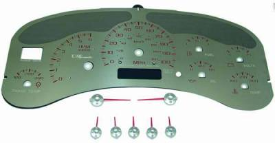 US Speedo - US Speedo Stainless Steel Gauge Face with Red Back and Color Match Needles - Displays 100 MPH - Transmission Temperature - SS GM 00R