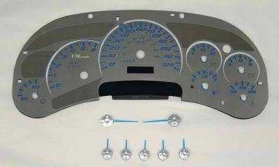 US Speedo - US Speedo Stainless Steel Gauge Face with Blue Back and Color Match Needles - Displays 120 MPH - Transmission Temperature - SS GM 02B